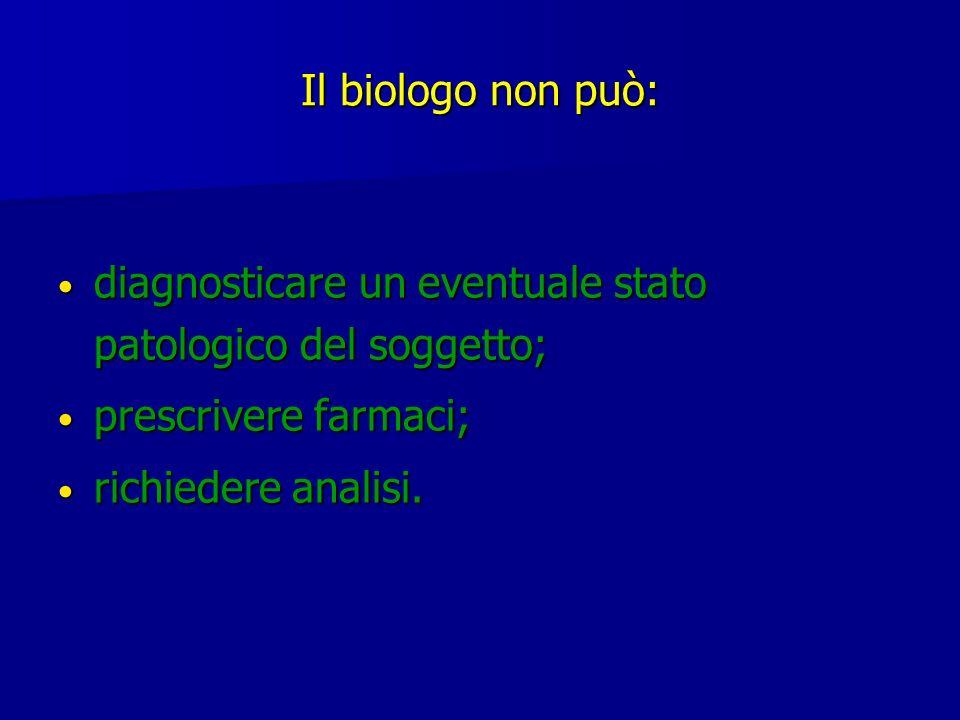 Il biologo non può: diagnosticare un eventuale stato patologico del soggetto; diagnosticare un eventuale stato patologico del soggetto; prescrivere fa
