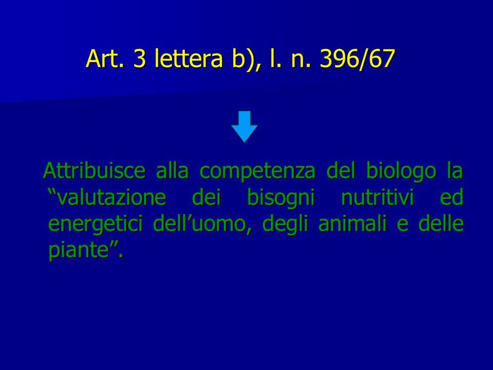 Art. 3 lettera b), l. n. 396/67 Attribuisce alla competenza del biologo la valutazione dei bisogni nutritivi ed energetici delluomo, degli animali e d