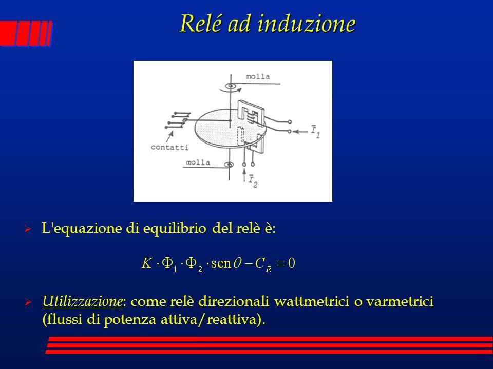 Relé ad induzione L'equazione di equilibrio del relè è: Utilizzazione : come relè direzionali wattmetrici o varmetrici (flussi di potenza attiva/reatt