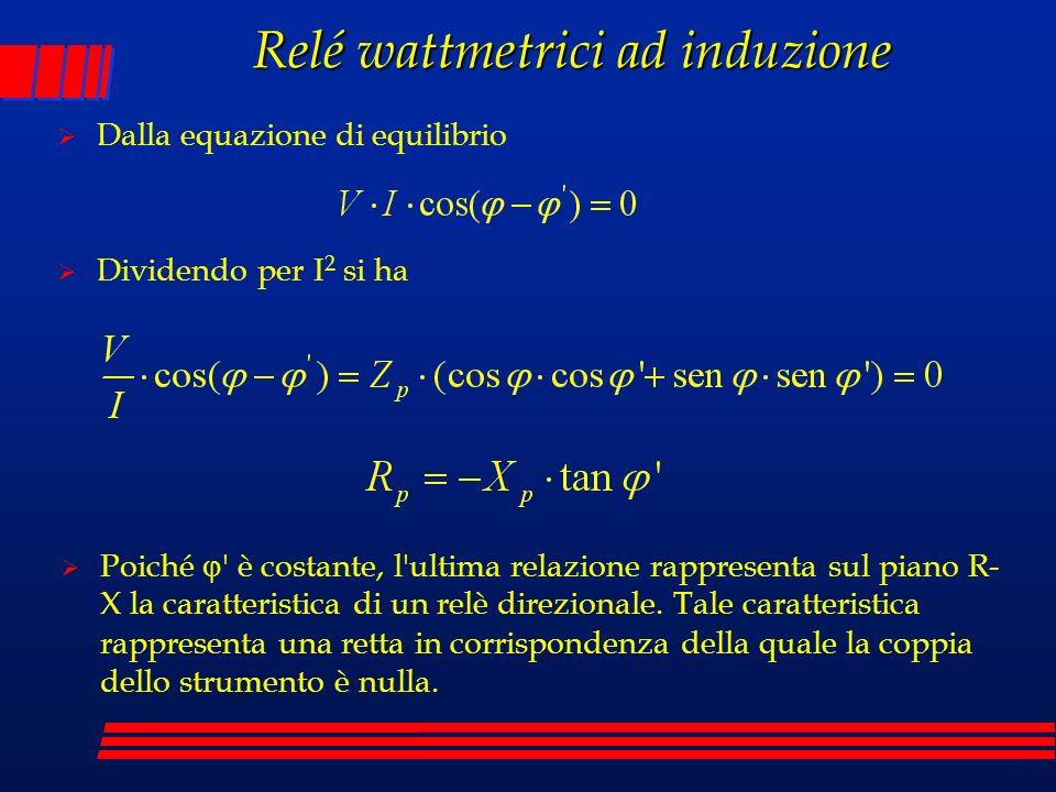 Relé wattmetrici ad induzione Dalla equazione di equilibrio Dividendo per I 2 si ha Poiché ' è costante, l'ultima relazione rappresenta sul piano R- X