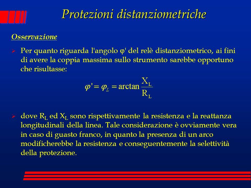 Osservazione Per quanto riguarda l'angolo ' del relè distanziometrico, ai fini di avere la coppia massima sullo strumento sarebbe opportuno che risult