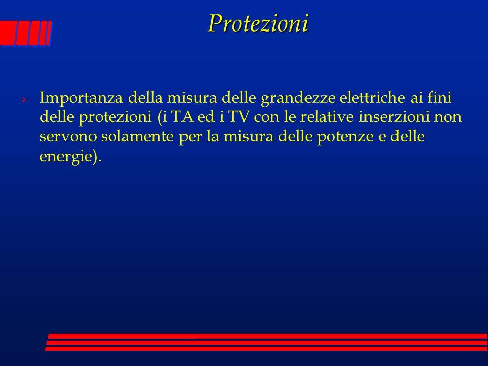 Protezioni Importanza della misura delle grandezze elettriche ai fini delle protezioni (i TA ed i TV con le relative inserzioni non servono solamente