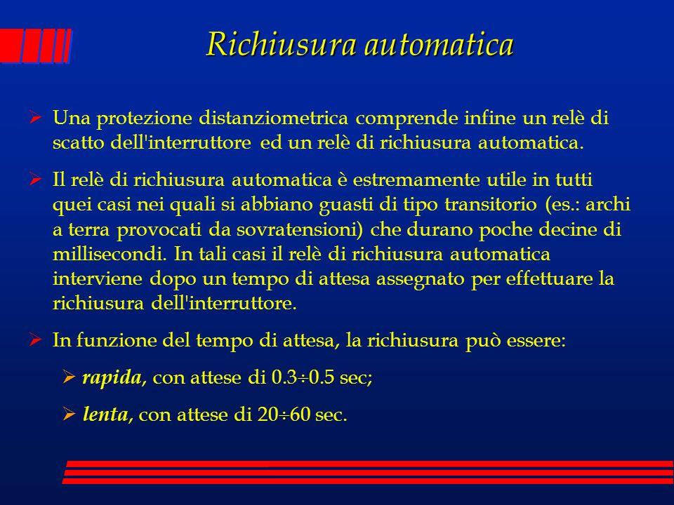 Richiusura automatica Una protezione distanziometrica comprende infine un relè di scatto dell'interruttore ed un relè di richiusura automatica. Il rel
