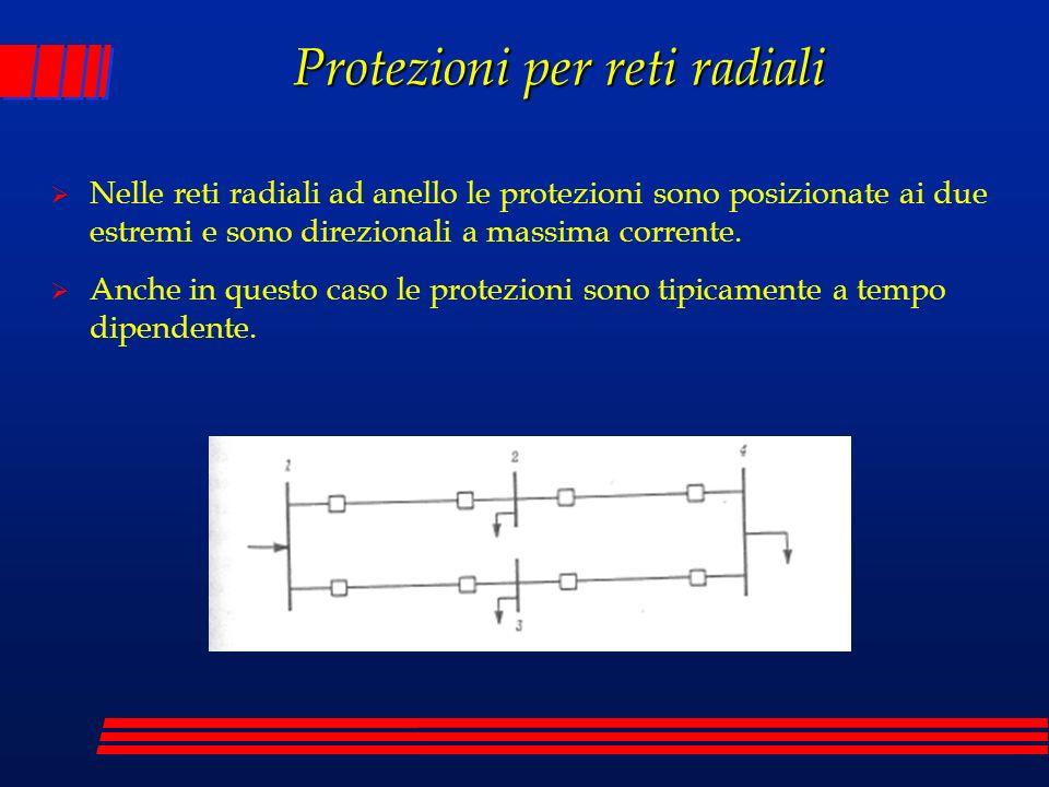 Nelle reti radiali ad anello le protezioni sono posizionate ai due estremi e sono direzionali a massima corrente. Anche in questo caso le protezioni s