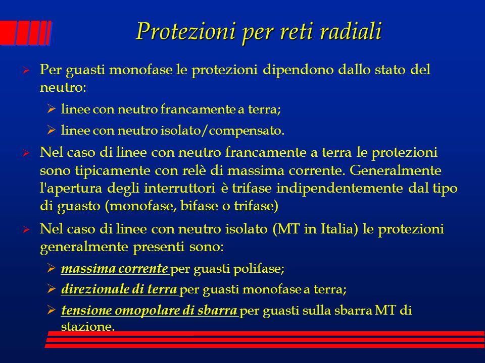 Protezioni per reti radiali Per guasti monofase le protezioni dipendono dallo stato del neutro: linee con neutro francamente a terra; linee con neutro