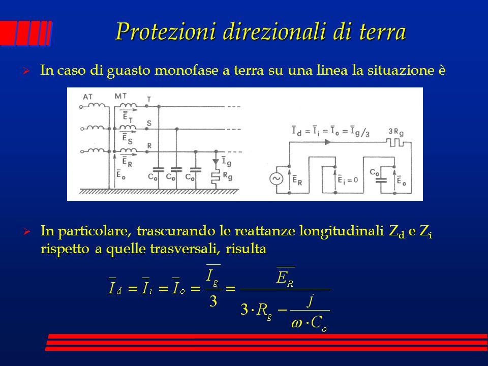 Protezioni direzionali di terra In caso di guasto monofase a terra su una linea la situazione è In particolare, trascurando le reattanze longitudinali