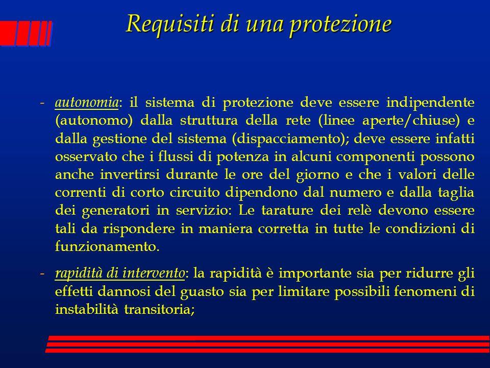 Requisiti di una protezione - autonomia : il sistema di protezione deve essere indipendente (autonomo) dalla struttura della rete (linee aperte/chiuse