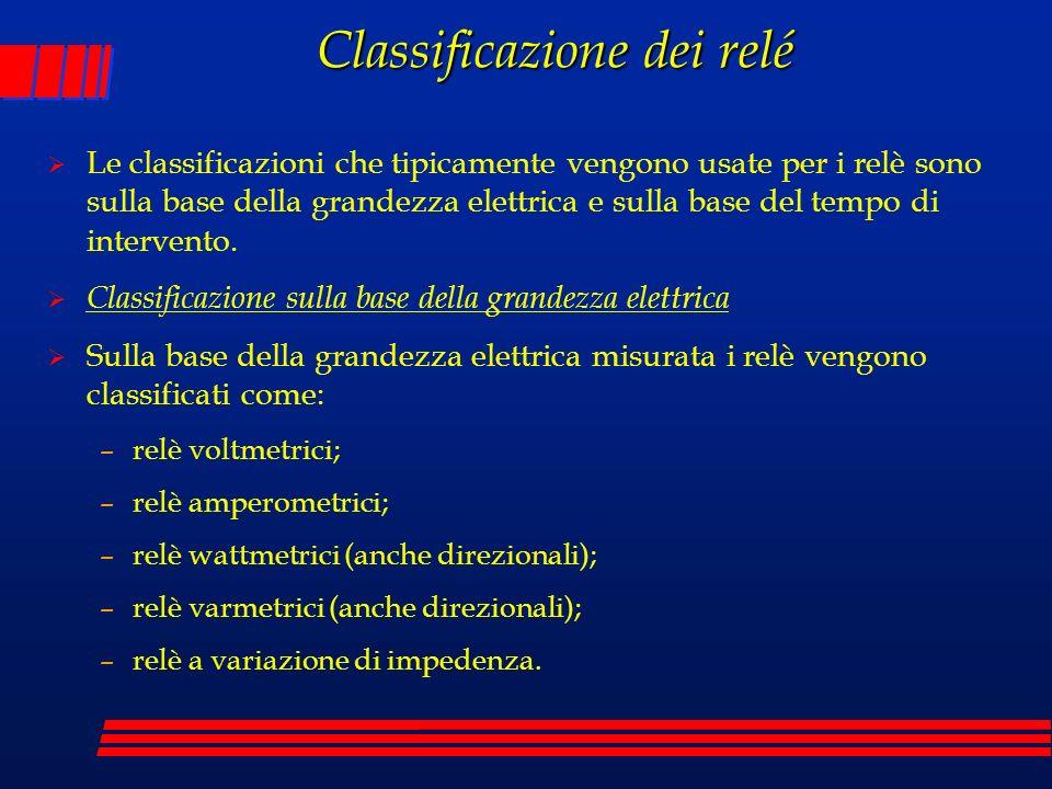 Classificazione dei relé Le classificazioni che tipicamente vengono usate per i relè sono sulla base della grandezza elettrica e sulla base del tempo
