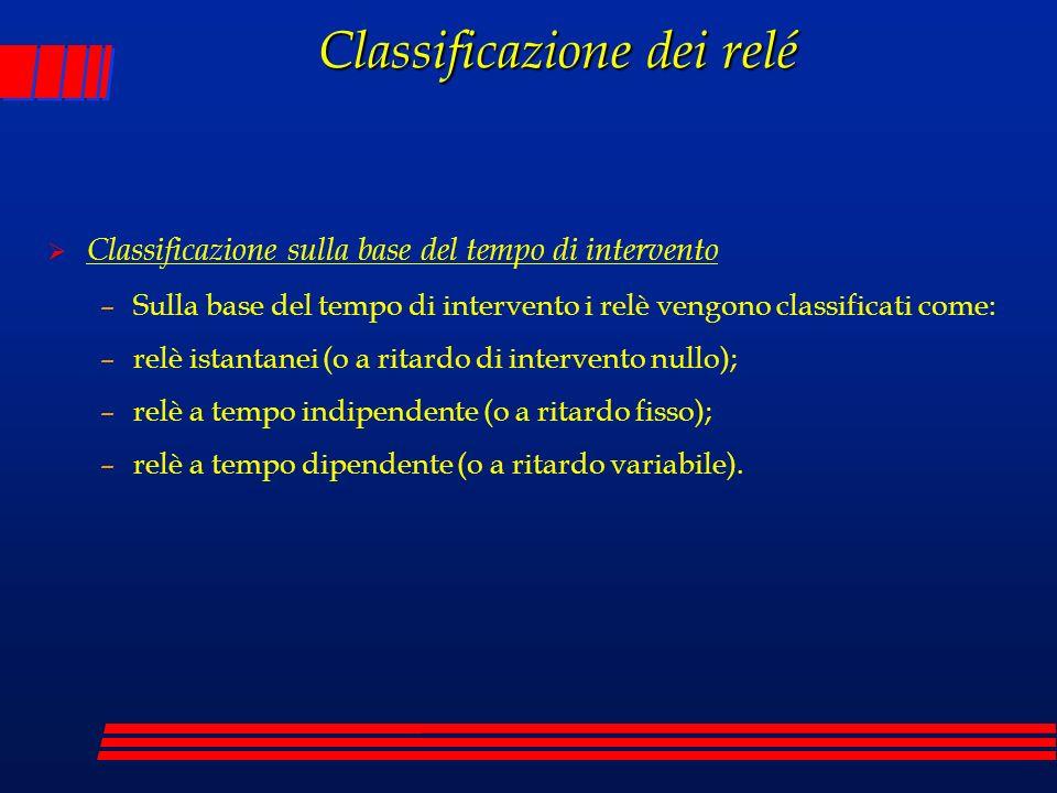 Classificazione dei relé Classificazione sulla base del tempo di intervento –Sulla base del tempo di intervento i relè vengono classificati come: –rel
