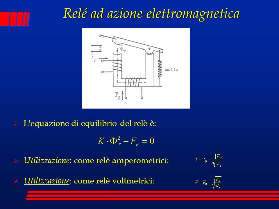Relé ad azione elettromagnetica L'equazione di equilibrio del relè è: Utilizzazione : come relè amperometrici: Utilizzazione : come relè voltmetrici: