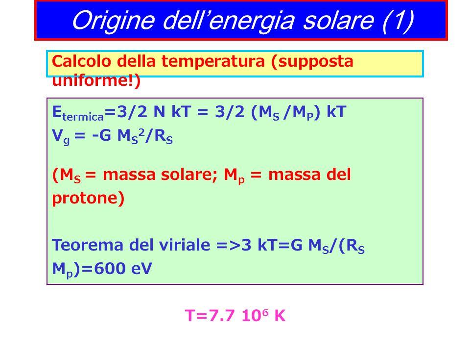 Origine dellenergia solare (1) Calcolo della temperatura (supposta uniforme!) E termica =3/2 N kT = 3/2 (M S /M P ) kT V g = -G M S 2 /R S (M S = mass