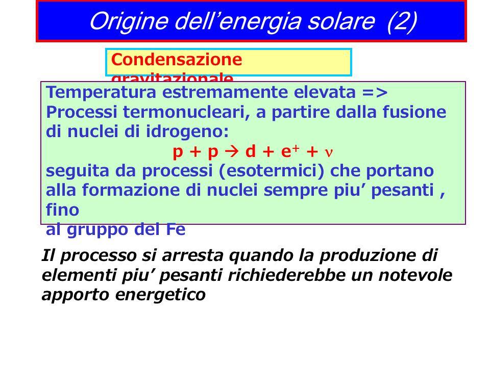 Origine dellenergia solare (2) Condensazione gravitazionale Temperatura estremamente elevata => Processi termonucleari, a partire dalla fusione di nuc