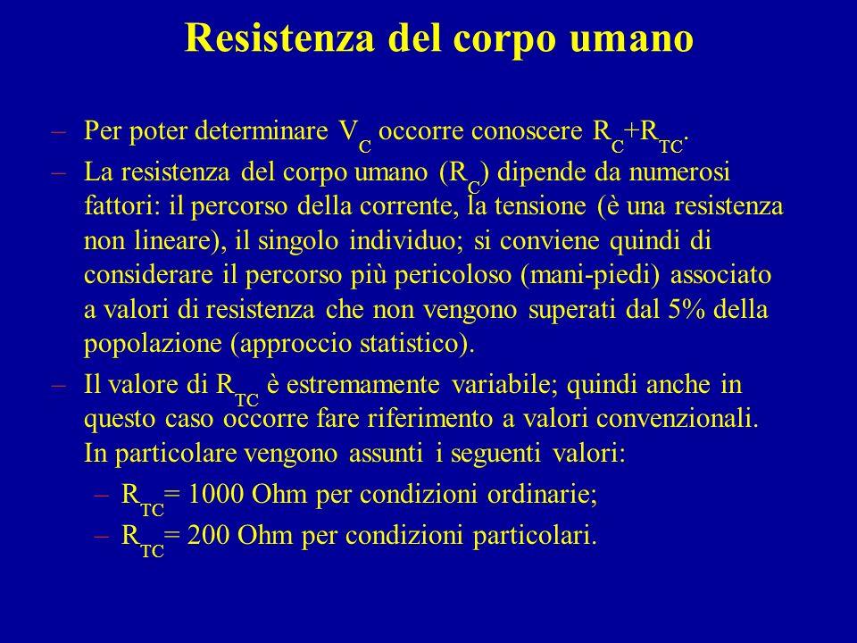 Resistenza del corpo umano –Per poter determinare V C occorre conoscere R C +R TC. –La resistenza del corpo umano (R C ) dipende da numerosi fattori: