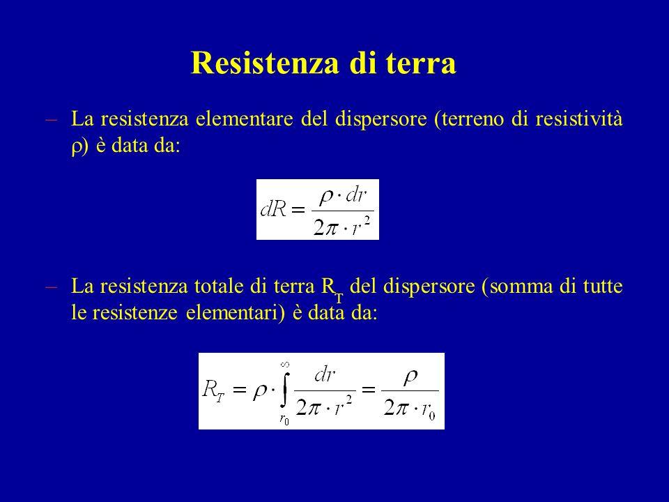 Resistenza di terra –La resistenza elementare del dispersore (terreno di resistività ) è data da: –La resistenza totale di terra R T del dispersore (s
