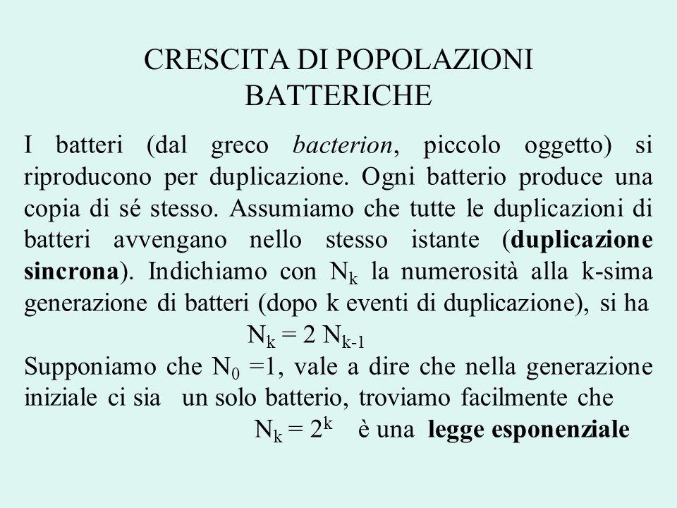 CRESCITA DI POPOLAZIONI BATTERICHE I batteri (dal greco bacterion, piccolo oggetto) si riproducono per duplicazione. Ogni batterio produce una copia d