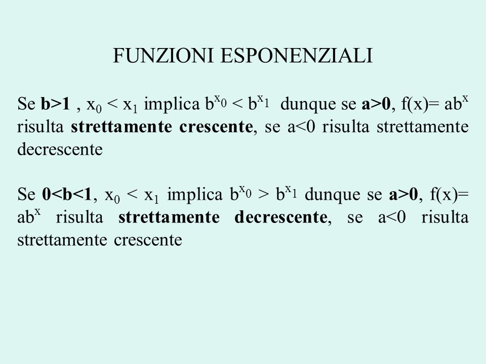 FUNZIONI ESPONENZIALI Se b>1, x 0 0, f(x)= ab x risulta strettamente crescente, se a<0 risulta strettamente decrescente Se 0 b x 1 dunque se a>0, f(x)