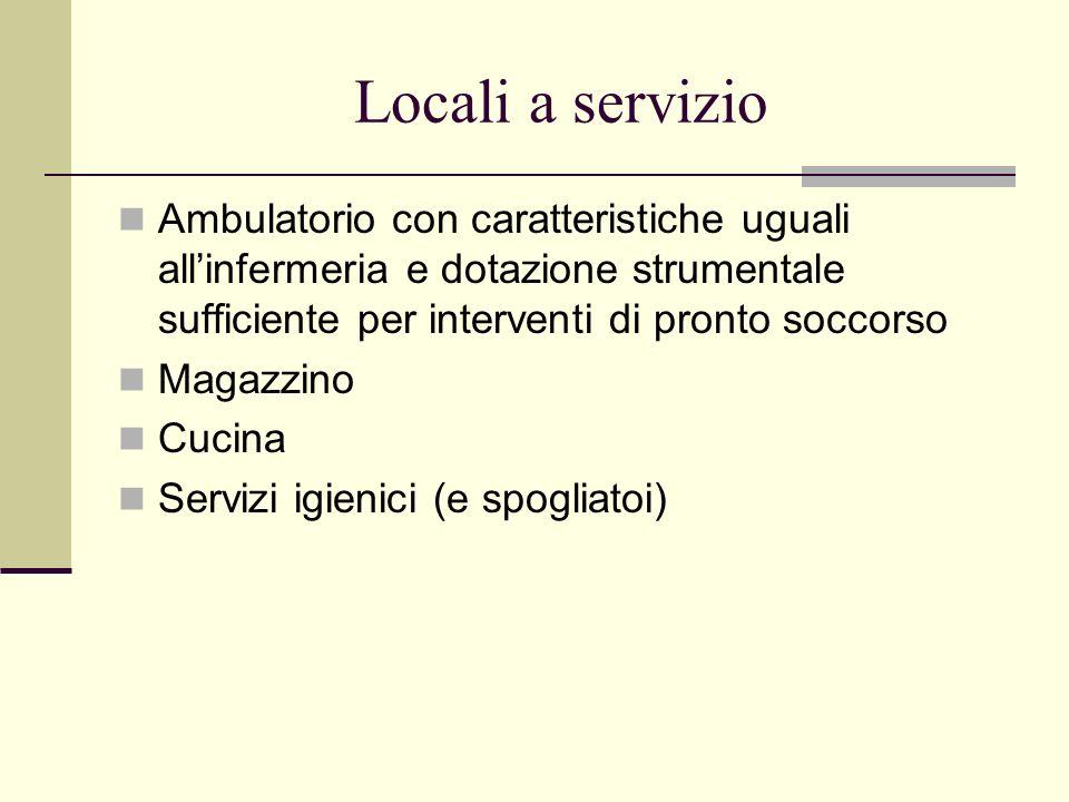 Locali a servizio Ambulatorio con caratteristiche uguali allinfermeria e dotazione strumentale sufficiente per interventi di pronto soccorso Magazzino
