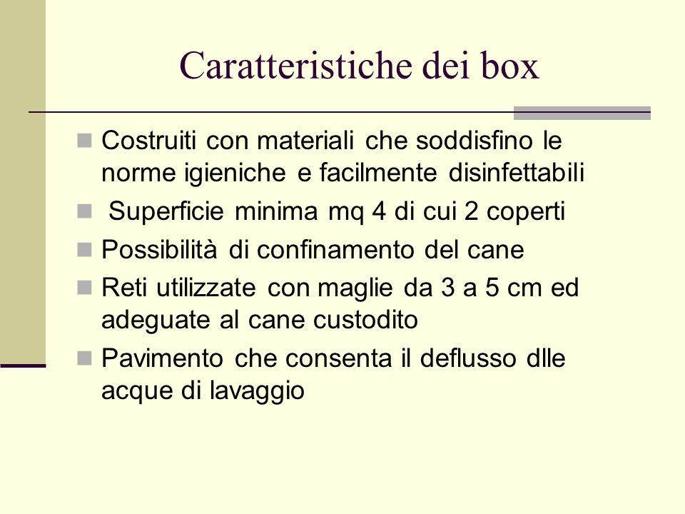 Caratteristiche dei box Costruiti con materiali che soddisfino le norme igieniche e facilmente disinfettabili Superficie minima mq 4 di cui 2 coperti