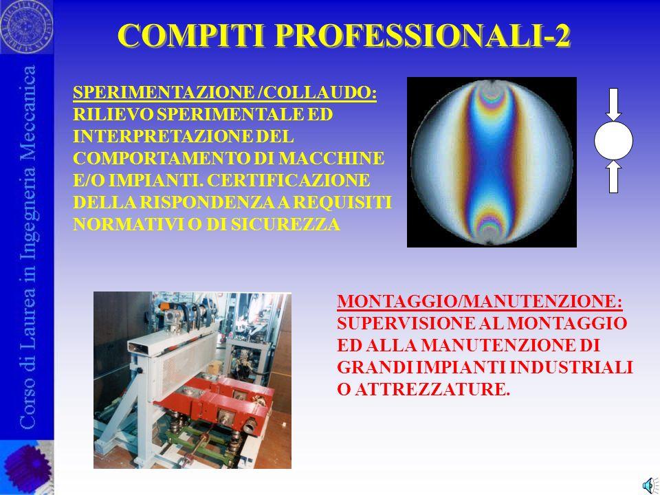 COMPITI PROFESSIONALI-1 PROGETTAZIONE : IDEAZIONE E SVILUPPO DI NUOVI PRODOTTI, MACCHINE O IMPIANTI INDUSTRIALI PRODUZIONE : INDIVIDUAZIONE DELLE TECNOLOGIE PRODUTTIVE PIÙ IDONEE ALLA PRODUZIONE DI MANUFATTI INDUSTRIALI