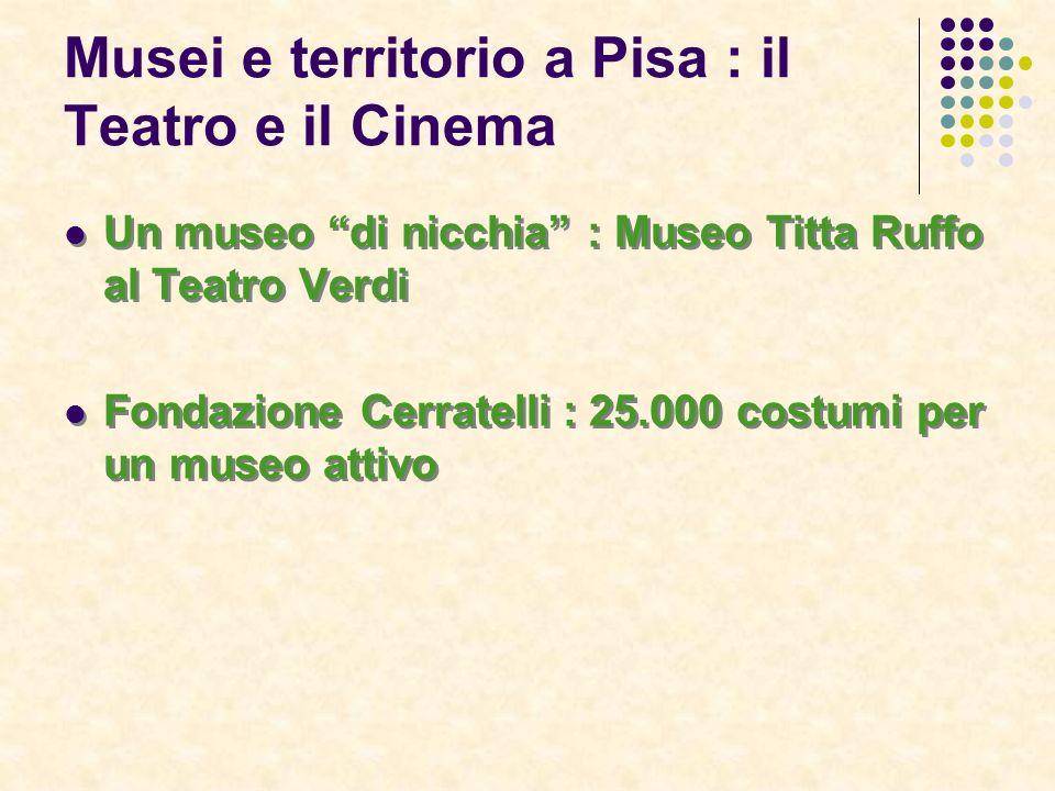 Musei e territorio a Pisa : il Teatro e il Cinema Un museo di nicchia : Museo Titta Ruffo al Teatro Verdi Fondazione Cerratelli : 25.000 costumi per un museo attivo Un museo di nicchia : Museo Titta Ruffo al Teatro Verdi Fondazione Cerratelli : 25.000 costumi per un museo attivo