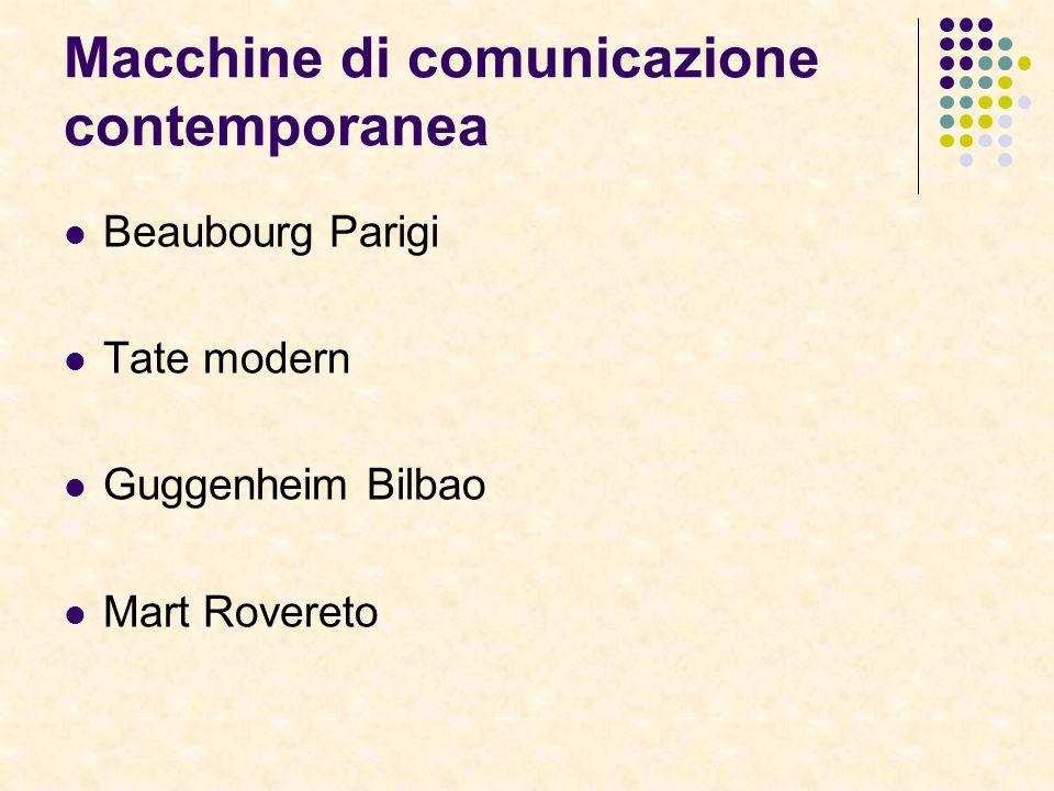 Macchine di comunicazione contemporanea Beaubourg Parigi Tate modern Guggenheim Bilbao Mart Rovereto