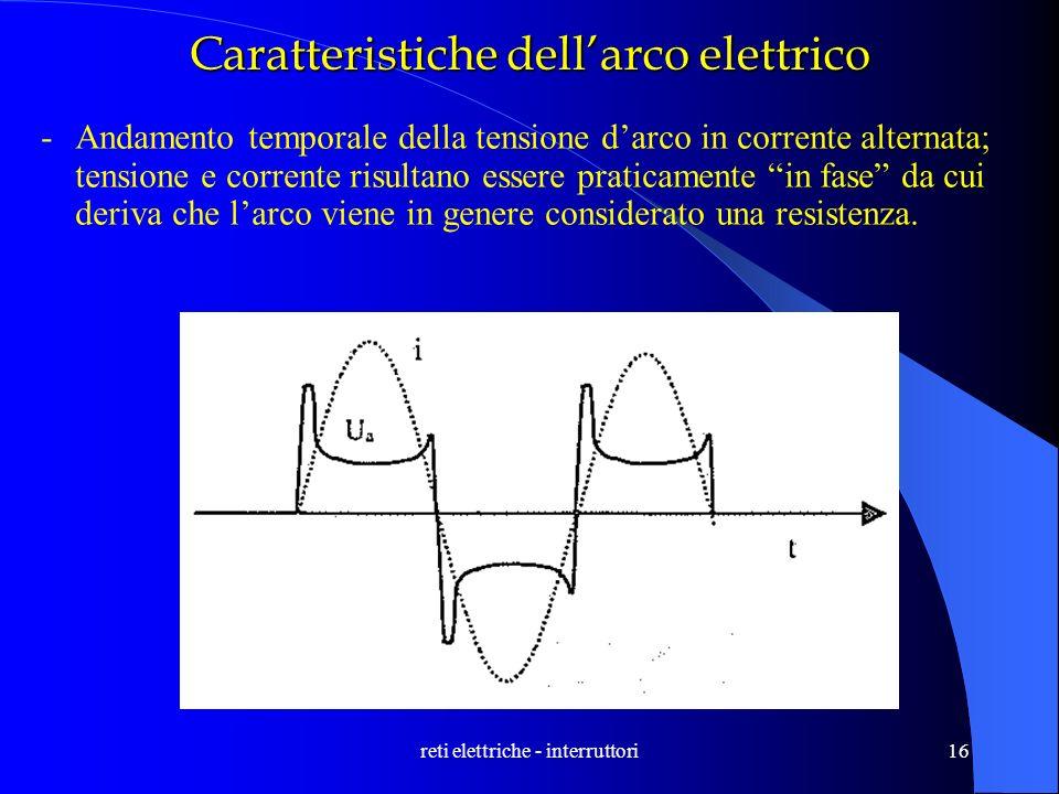 reti elettriche - interruttori16 Caratteristiche dellarco elettrico -Andamento temporale della tensione darco in corrente alternata; tensione e corren