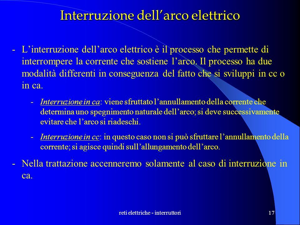 reti elettriche - interruttori17 Interruzione dellarco elettrico -Linterruzione dellarco elettrico è il processo che permette di interrompere la corre