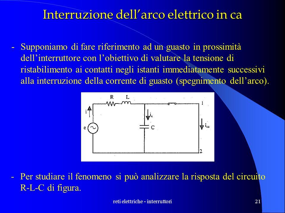 reti elettriche - interruttori21 Interruzione dellarco elettrico in ca -Supponiamo di fare riferimento ad un guasto in prossimità dellinterruttore con