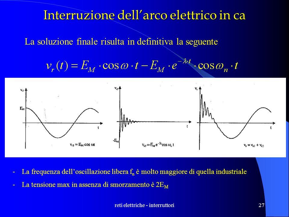 reti elettriche - interruttori27 Interruzione dellarco elettrico in ca La soluzione finale risulta in definitiva la seguente -La frequenza delloscilla