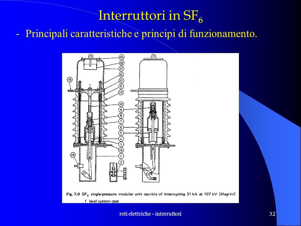 reti elettriche - interruttori32 Interruttori in SF 6 -Principali caratteristiche e principi di funzionamento.