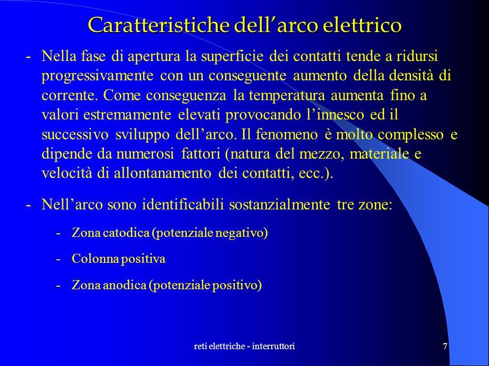 7 Caratteristiche dellarco elettrico -Nella fase di apertura la superficie dei contatti tende a ridursi progressivamente con un conseguente aumento de