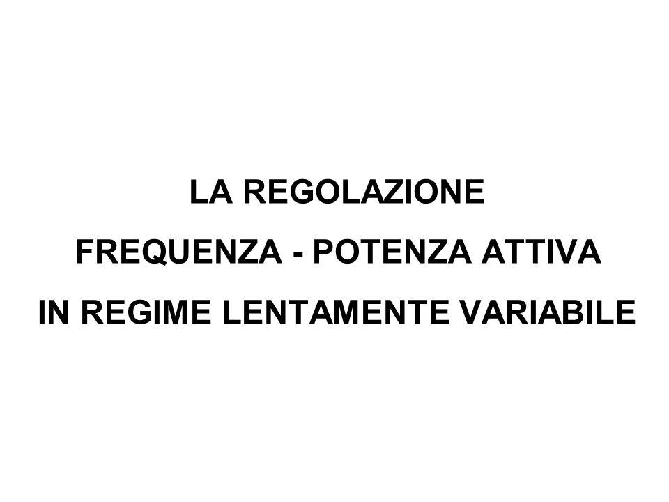 LA REGOLAZIONE FREQUENZA - POTENZA ATTIVA IN REGIME LENTAMENTE VARIABILE