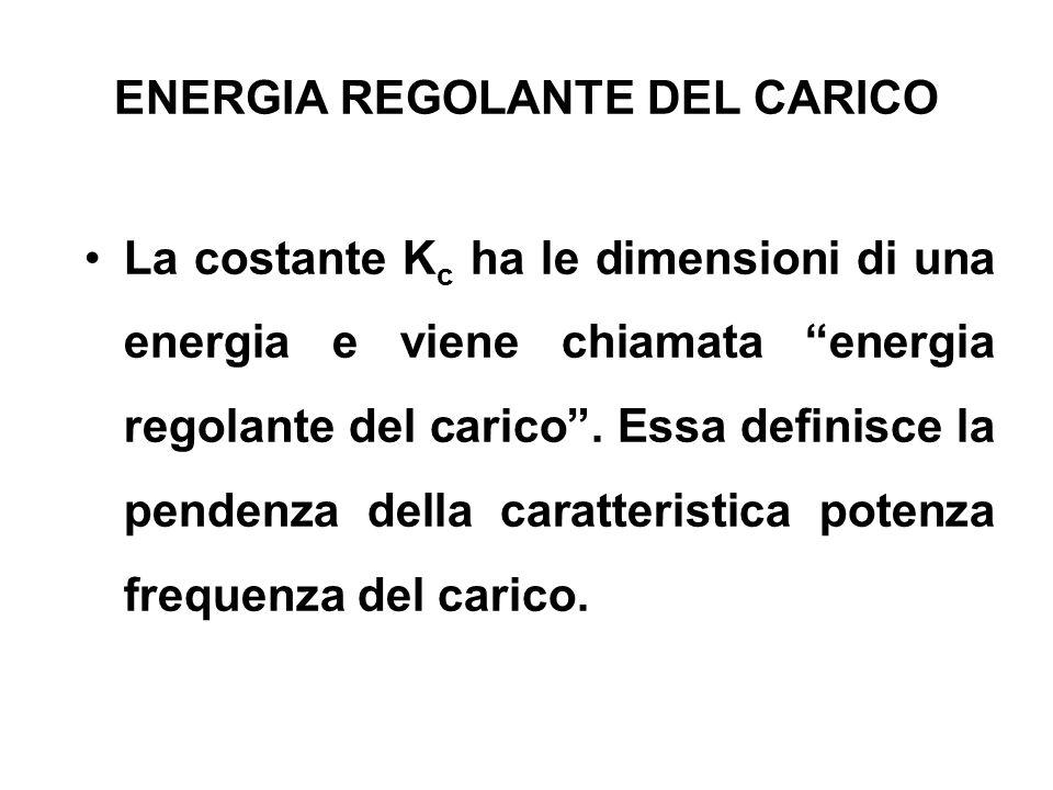 ENERGIA REGOLANTE DEL CARICO La costante K c ha le dimensioni di una energia e viene chiamata energia regolante del carico. Essa definisce la pendenza
