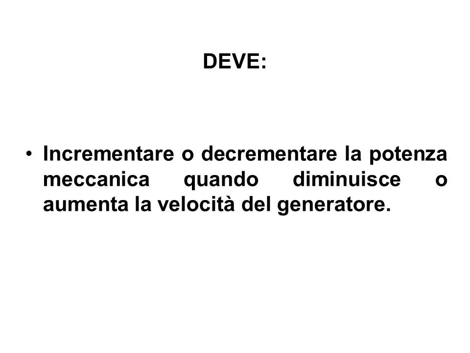DEVE: Incrementare o decrementare la potenza meccanica quando diminuisce o aumenta la velocità del generatore.