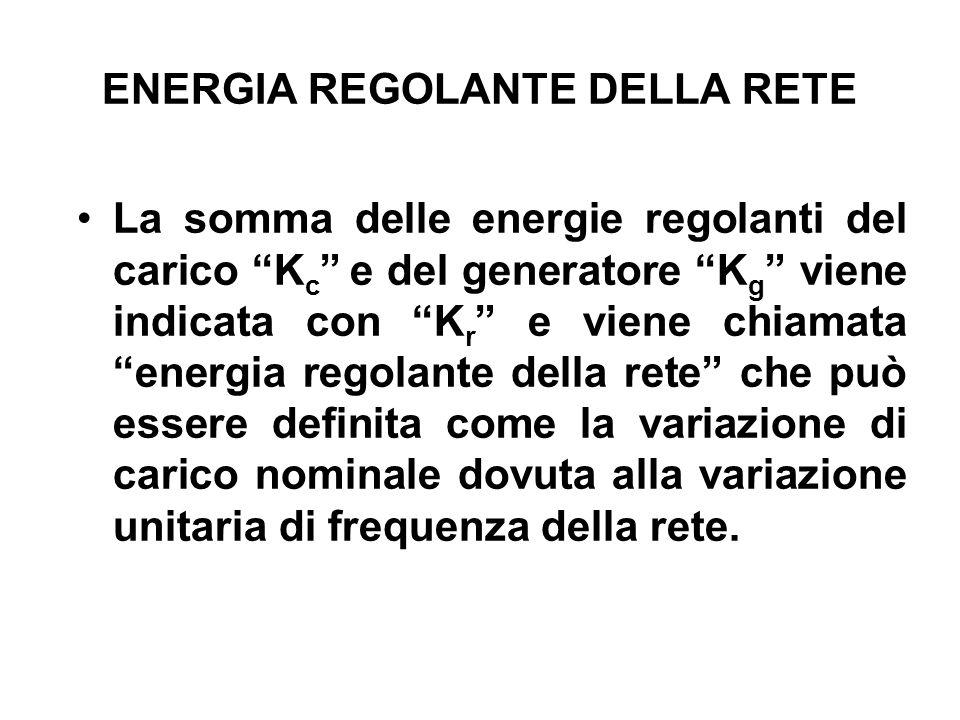 ENERGIA REGOLANTE DELLA RETE La somma delle energie regolanti del carico K c e del generatore K g viene indicata con K r e viene chiamata energia regolante della rete che può essere definita come la variazione di carico nominale dovuta alla variazione unitaria di frequenza della rete.