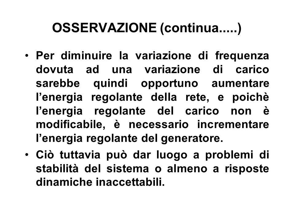 OSSERVAZIONE (continua.....) Per diminuire la variazione di frequenza dovuta ad una variazione di carico sarebbe quindi opportuno aumentare lenergia r