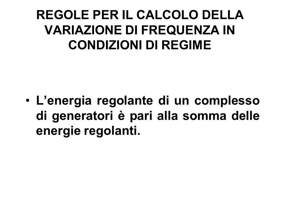 REGOLE PER IL CALCOLO DELLA VARIAZIONE DI FREQUENZA IN CONDIZIONI DI REGIME Lenergia regolante di un complesso di generatori è pari alla somma delle e
