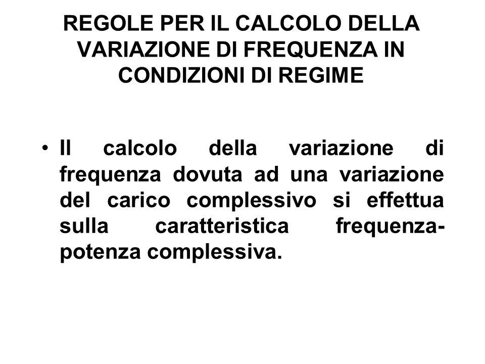 REGOLE PER IL CALCOLO DELLA VARIAZIONE DI FREQUENZA IN CONDIZIONI DI REGIME Il calcolo della variazione di frequenza dovuta ad una variazione del carico complessivo si effettua sulla caratteristica frequenza- potenza complessiva.