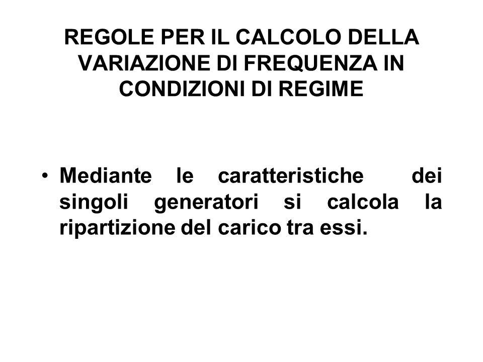 REGOLE PER IL CALCOLO DELLA VARIAZIONE DI FREQUENZA IN CONDIZIONI DI REGIME Mediante le caratteristiche dei singoli generatori si calcola la ripartizione del carico tra essi.