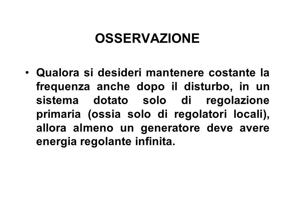 OSSERVAZIONE Qualora si desideri mantenere costante la frequenza anche dopo il disturbo, in un sistema dotato solo di regolazione primaria (ossia solo