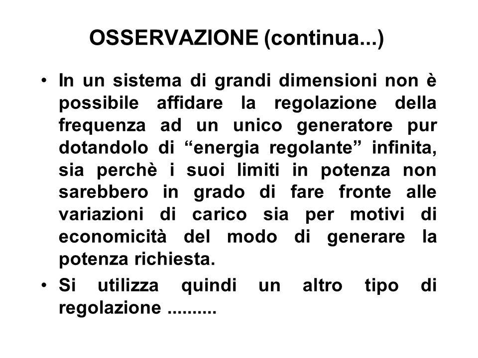 OSSERVAZIONE (continua...) In un sistema di grandi dimensioni non è possibile affidare la regolazione della frequenza ad un unico generatore pur dotan