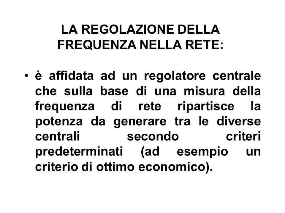LA REGOLAZIONE DELLA FREQUENZA NELLA RETE: è affidata ad un regolatore centrale che sulla base di una misura della frequenza di rete ripartisce la potenza da generare tra le diverse centrali secondo criteri predeterminati (ad esempio un criterio di ottimo economico).