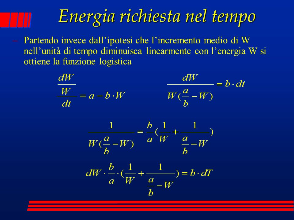 Energia richiesta nel tempo –Partendo invece dallipotesi che lincremento medio di W nellunità di tempo diminuisca linearmente con lenergia W si ottiene la funzione logistica