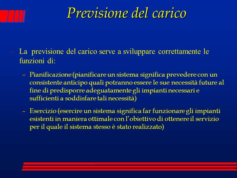Previsione del carico –La previsione del carico serve a sviluppare correttamente le funzioni di: –Pianificazione (pianificare un sistema significa pre