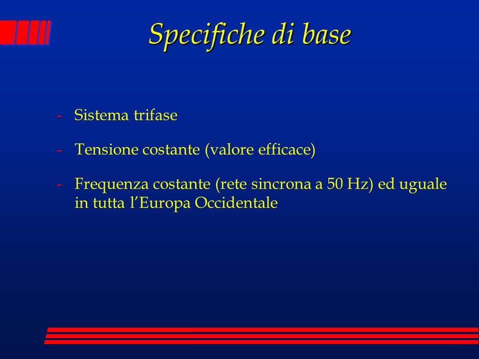 Specifiche di base -Sistema trifase -Tensione costante (valore efficace) -Frequenza costante (rete sincrona a 50 Hz) ed uguale in tutta lEuropa Occide