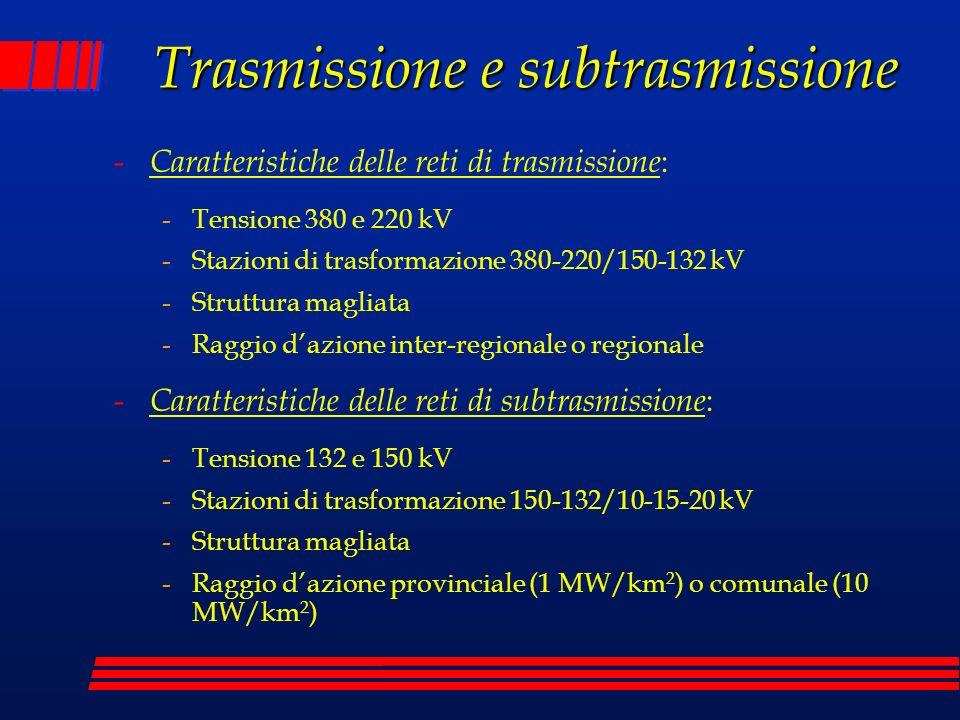Trasmissione e subtrasmissione - Caratteristiche delle reti di trasmissione : -Tensione 380 e 220 kV -Stazioni di trasformazione 380-220/150-132 kV -S
