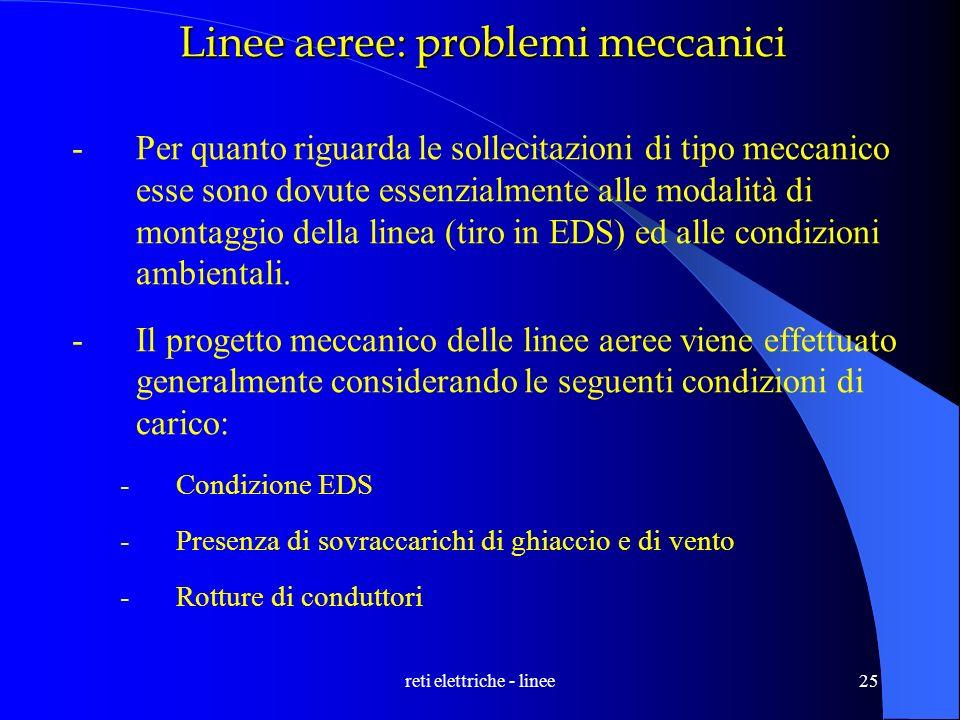 reti elettriche - linee25 Linee aeree: problemi meccanici -Per quanto riguarda le sollecitazioni di tipo meccanico esse sono dovute essenzialmente all