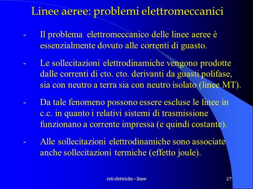 reti elettriche - linee27 Linee aeree: problemi elettromeccanici -Il problema elettromeccanico delle linee aeree è essenzialmente dovuto alle correnti