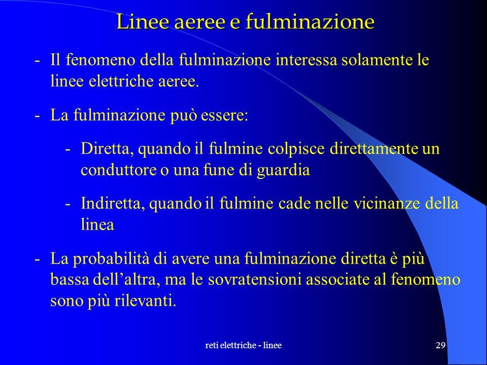 reti elettriche - linee29 Linee aeree e fulminazione -Il fenomeno della fulminazione interessa solamente le linee elettriche aeree. -La fulminazione p