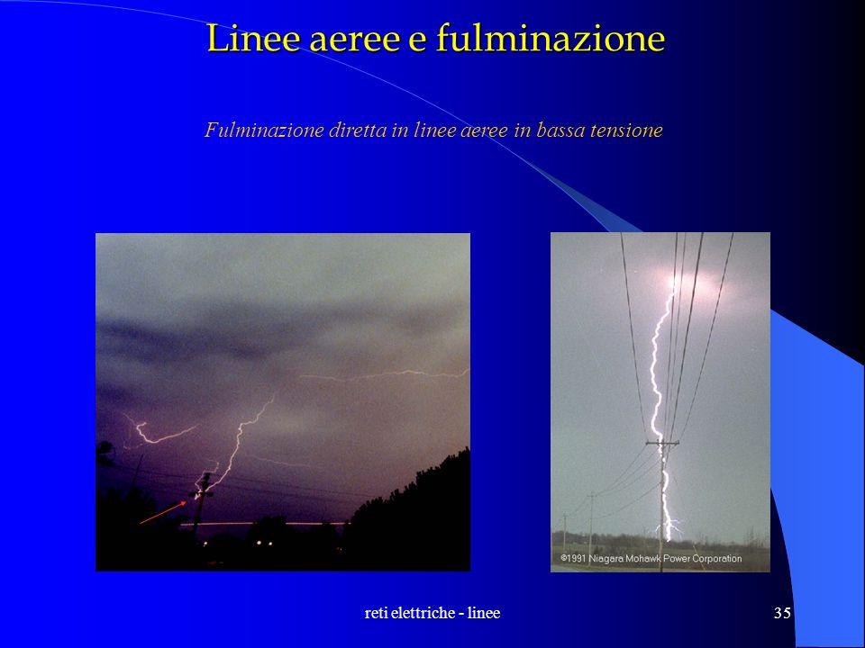 reti elettriche - linee35 Linee aeree e fulminazione Fulminazione diretta in linee aeree in bassa tensione
